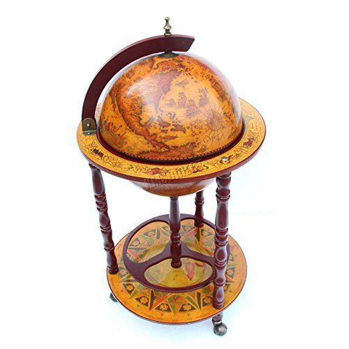 foxhunter globe shaped mini bar drinks cabinet retro style host trolley glasses bottles wine 360mm